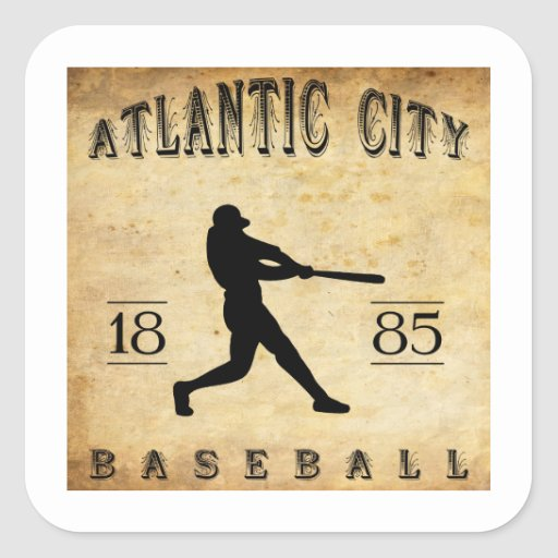 Béisbol 1885 de Atlantic City New Jersey Calcomanía Cuadradas