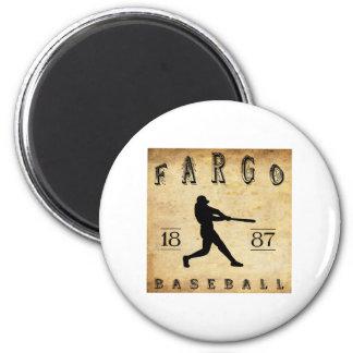 Béisbol 1887 de Fargo Dakota del Norte Imán Redondo 5 Cm