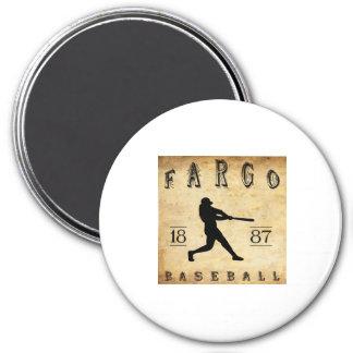 Béisbol 1887 de Fargo Dakota del Norte Imán Redondo 7 Cm