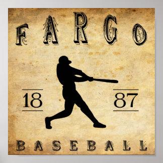 Béisbol 1887 de Fargo Dakota del Norte Poster