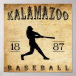 Béisbol 1887 de Kalamazoo Michigan Poster