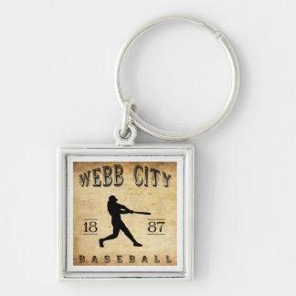 Béisbol 1887 de Missouri de la ciudad de Webb Llavero Cuadrado Plateado