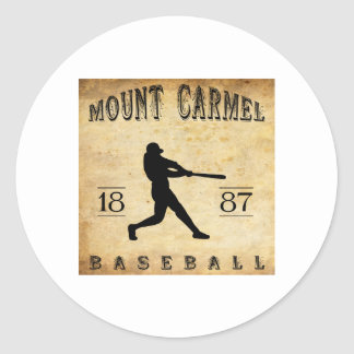 Béisbol 1887 del monte Carmelo Pennsylvania Pegatina Redonda