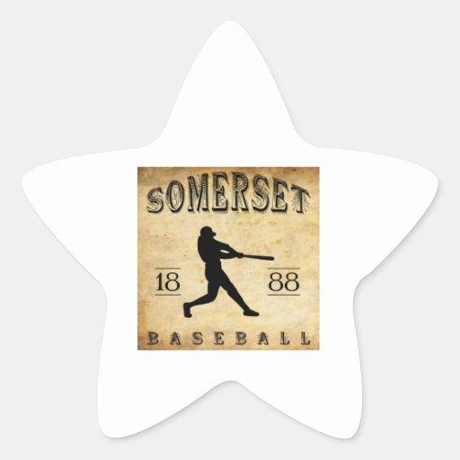 Béisbol 1888 de Somerset New Jersey Pegatinas Forma De Estrellaes Personalizadas