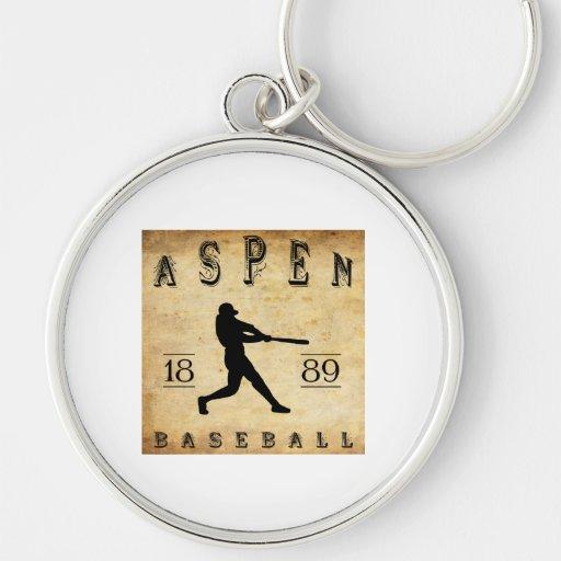 Béisbol 1889 de Aspen Colorado Llavero Redondo Plateado