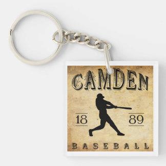 Béisbol 1889 de Camden Delaware Llavero Cuadrado Acrílico A Doble Cara