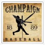 Béisbol 1889 de Illinois del chamán Relojes De Pared