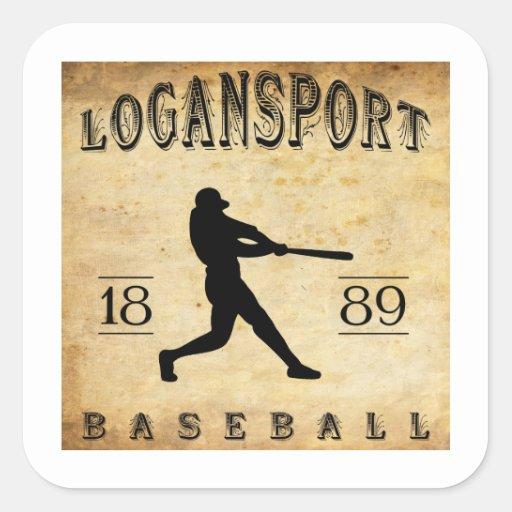 Béisbol 1889 de Logansport Indiana Pegatina Cuadrada