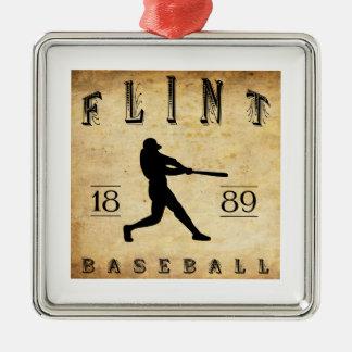 Béisbol 1889 de Michigan del pedernal Adorno Navideño Cuadrado De Metal