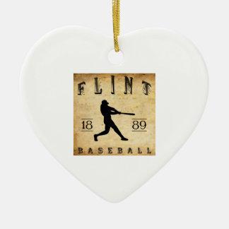 Béisbol 1889 de Michigan del pedernal Adorno Navideño De Cerámica En Forma De Corazón
