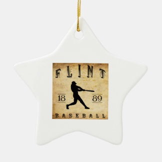 Béisbol 1889 de Michigan del pedernal Adorno Navideño De Cerámica En Forma De Estrella