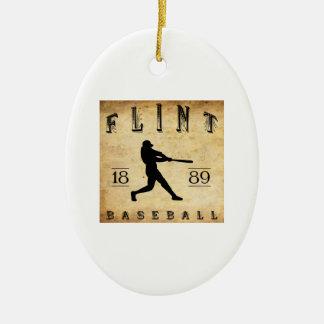 Béisbol 1889 de Michigan del pedernal Adorno Navideño Ovalado De Cerámica