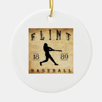 Béisbol 1889 de Michigan del pedernal Adorno Navideño Redondo De Cerámica