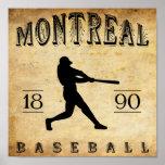Béisbol 1890 de Montreal Quebec Canadá Póster