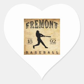 Béisbol 1892 de Fremont Nebraska Pegatina En Forma De Corazón