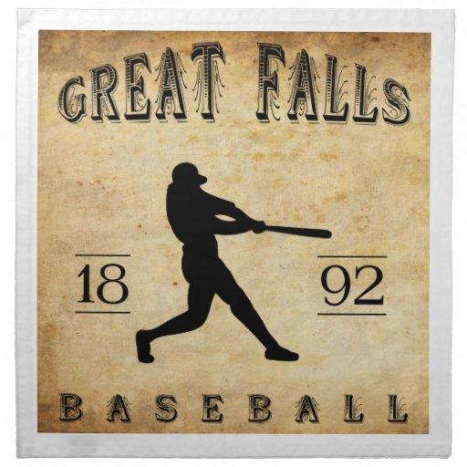 Béisbol 1892 de Great Falls Montana Servilletas Imprimidas