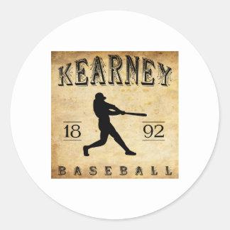 Béisbol 1892 de Kearney Nebraska Etiquetas Redondas