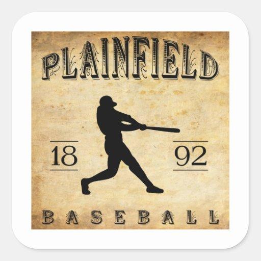 Béisbol 1892 de Plainfield New Jersey Pegatina Cuadradas Personalizada
