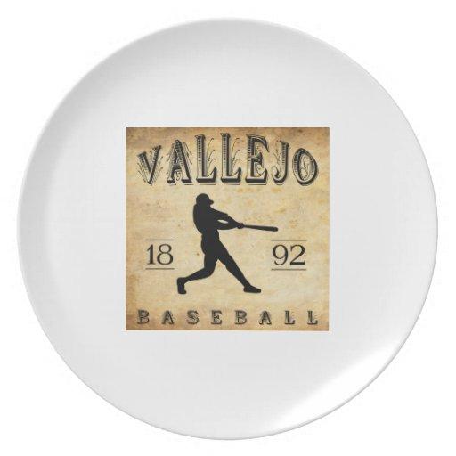 Béisbol 1892 de Vallejo California Plato De Comida