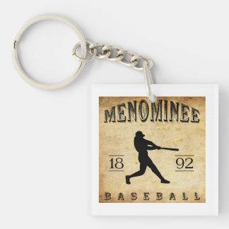 Béisbol 1892 de Wisconsin del Menominee Llavero Cuadrado Acrílico A Una Cara