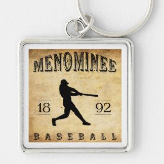 Béisbol 1892 de Wisconsin del Menominee Llavero Cuadrado Plateado