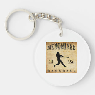Béisbol 1892 de Wisconsin del Menominee Llavero Redondo Acrílico A Doble Cara