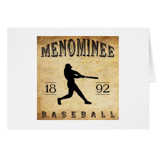 Béisbol 1892 de Wisconsin del Menominee Tarjeta De Felicitación