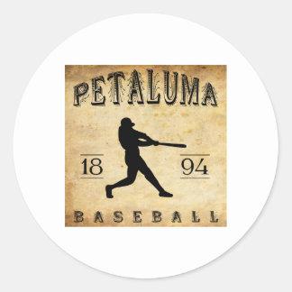 Béisbol 1894 de Petaluma California Etiqueta Redonda