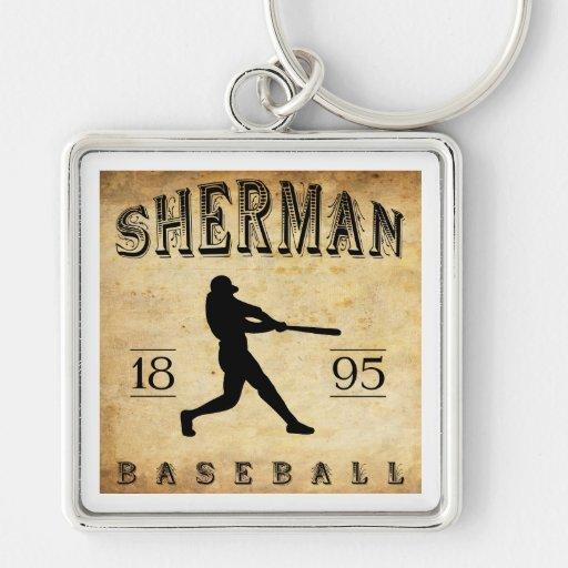 Béisbol 1895 de Sherman Tejas Llavero Cuadrado Plateado