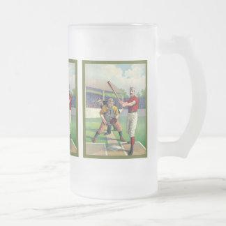Béisbol 1895 del vintage taza cristal mate