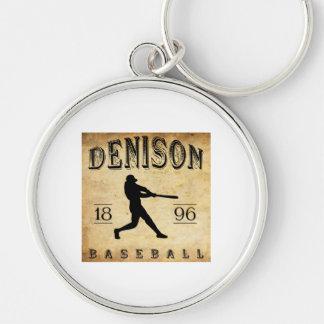 Béisbol 1896 de Denison Tejas Llavero Redondo Plateado