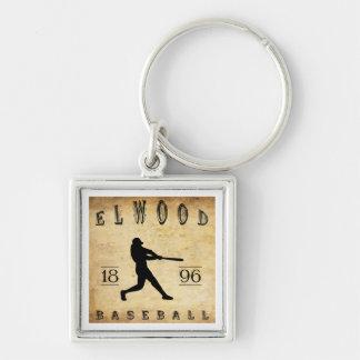 Béisbol 1896 de Elwood Indiana Llavero Cuadrado Plateado
