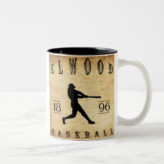 Béisbol 1896 de Elwood Indiana Taza De Café De Dos Colores