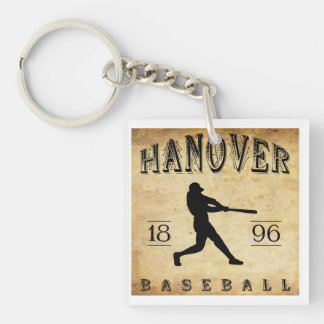 Béisbol 1896 de Hannover Maryland Llavero Cuadrado Acrílico A Doble Cara