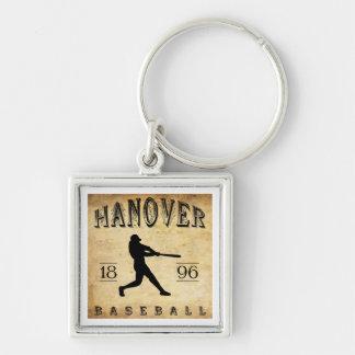 Béisbol 1896 de Hannover Maryland Llavero Cuadrado Plateado