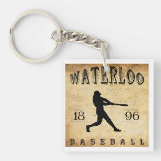 Béisbol 1896 de Waterloo Wisconsin Llavero Cuadrado Acrílico A Doble Cara