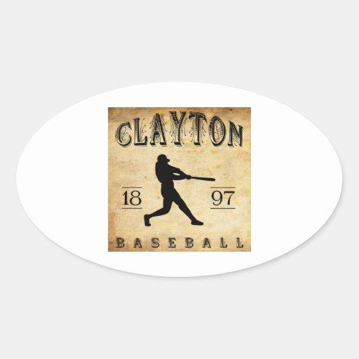 Béisbol 1897 de Clayton New Jersey Calcomanías De Ovales Personalizadas