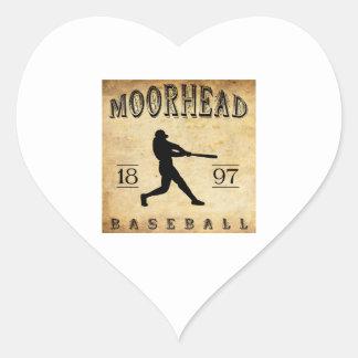 Béisbol 1897 de Moorhead Minnesota Pegatina En Forma De Corazón