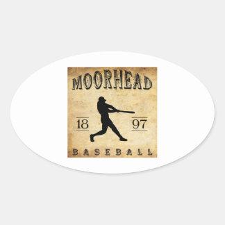 Béisbol 1897 de Moorhead Minnesota Pegatina Ovalada