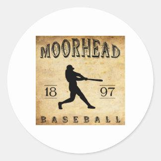 Béisbol 1897 de Moorhead Minnesota Pegatina Redonda