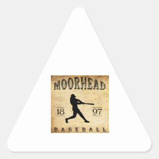 Béisbol 1897 de Moorhead Minnesota Pegatina Triangular