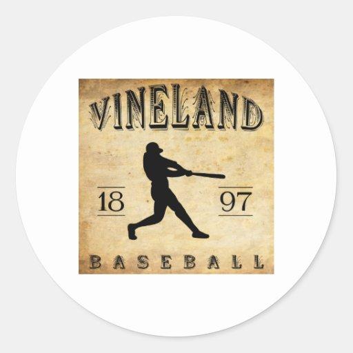 Béisbol 1897 de Vineland New Jersey Etiqueta Redonda