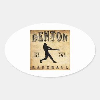 Béisbol 1898 de Denton Tejas Pegatina Ovalada
