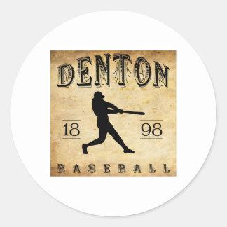 Béisbol 1898 de Denton Tejas Pegatina Redonda