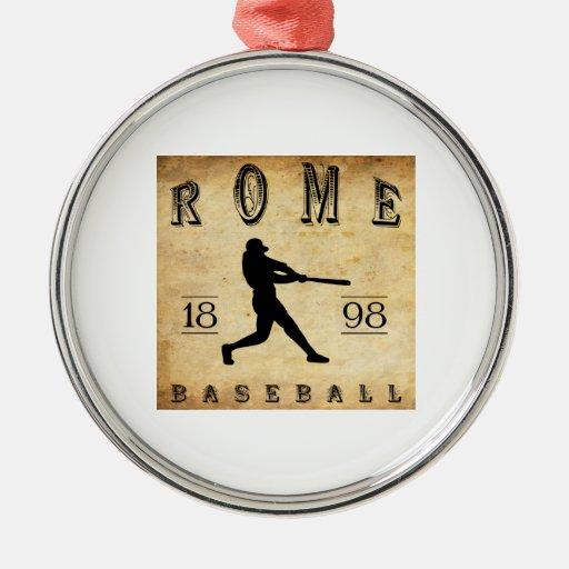 Béisbol 1898 de Roma Nueva York Adorno De Navidad