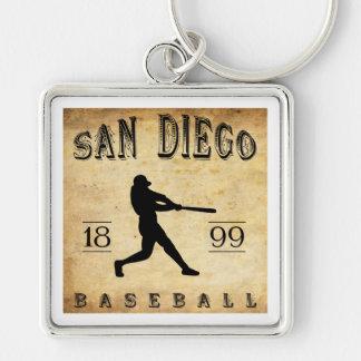 Béisbol 1899 de San Diego California Llavero Cuadrado Plateado