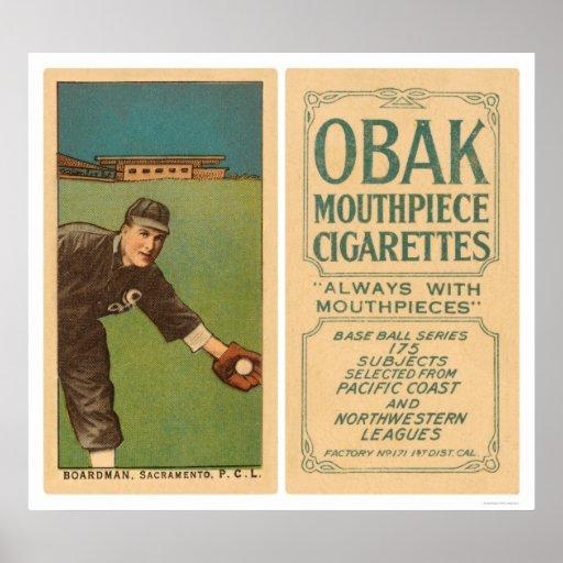 Béisbol 1910 de Boardman Sacramento Poster