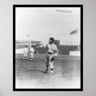 Béisbol 1910 de Mathewson Giants de la jarra Poster