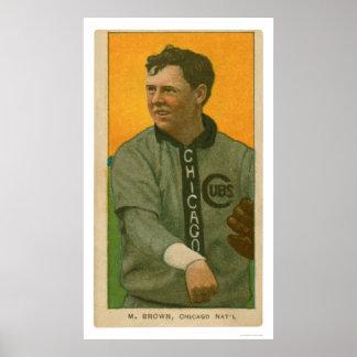 Béisbol 1911 de Brown Cubs de tres dedos Posters