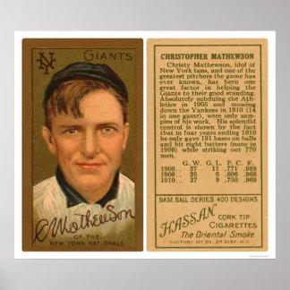 Béisbol 1911 de Christy Mathewson Póster
